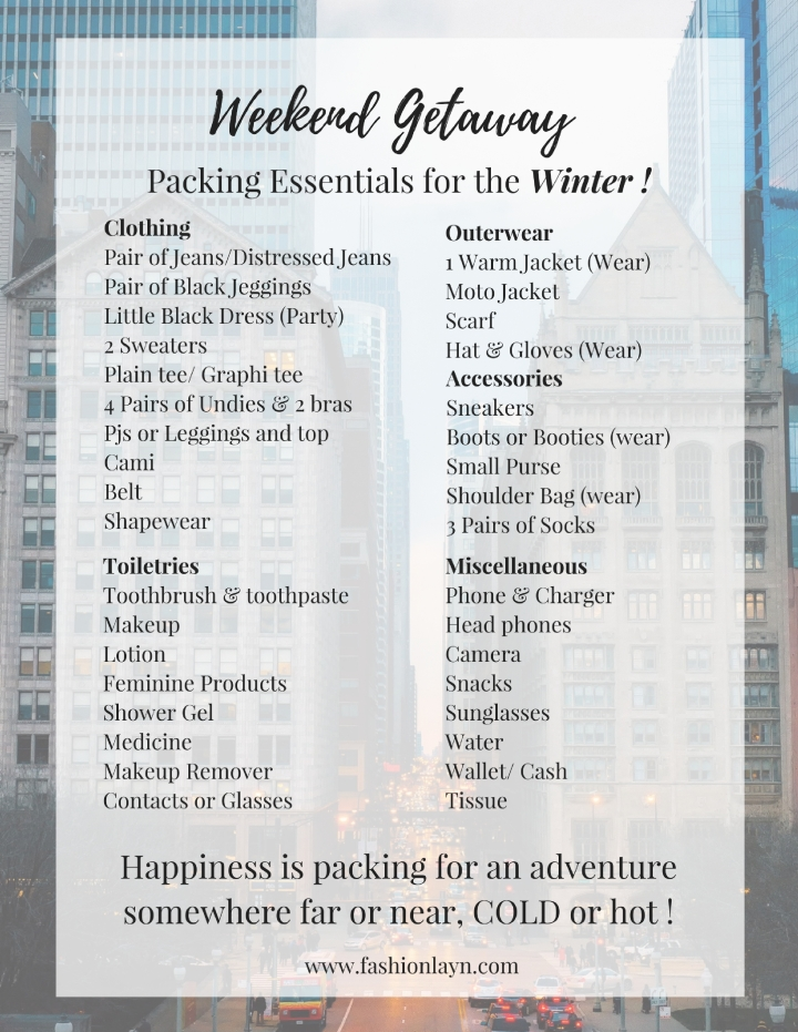Chicago Packing List
