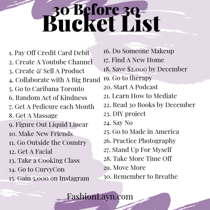 30 ways to spend the last year of my 20s
